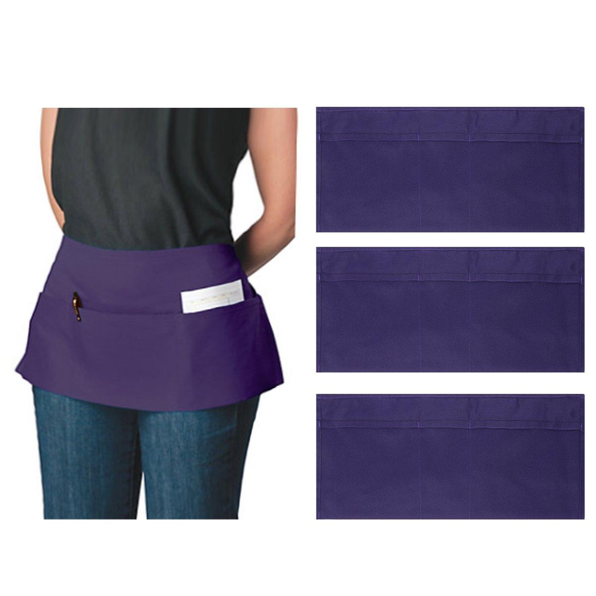 Ataly 3-Pocket Canvas Waist Aprons for Women & Men Bulk Set Short Waitress Waiter Server Half Apron