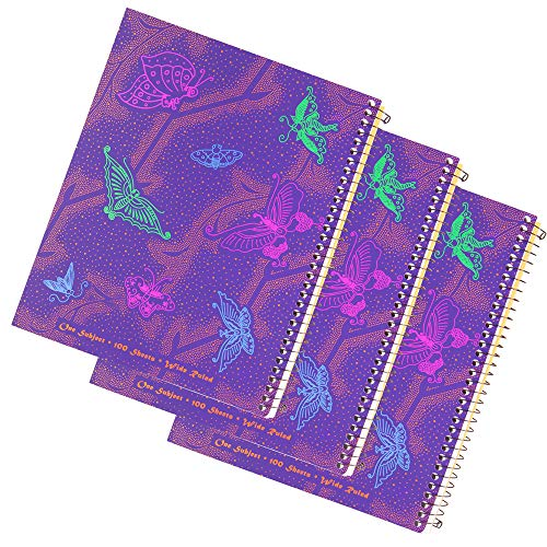 Left handed Wide Ruled notebook With Butterfly Design, Set of 3