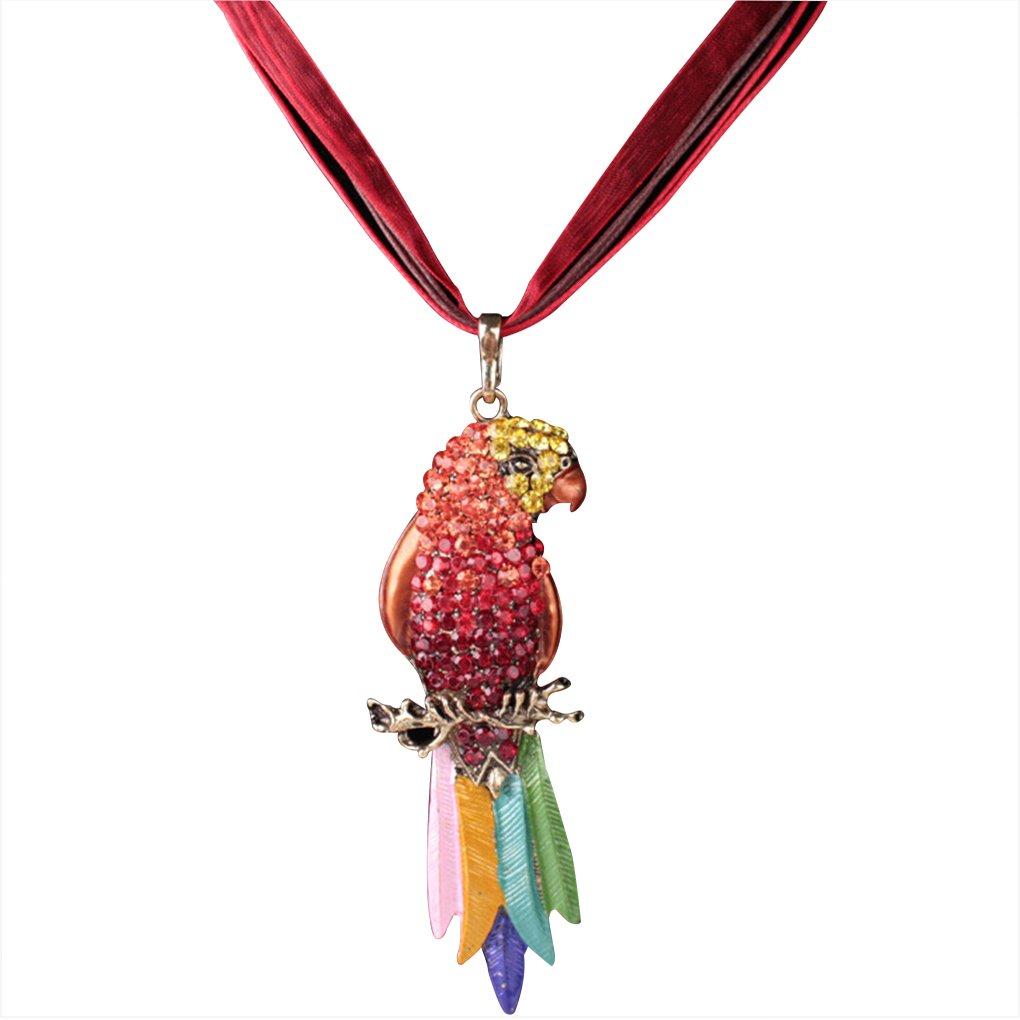 LUFA Collana del pendente di disegno di stile occidentale placcare Colourful Piuma pappagallo