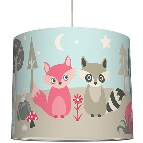 Anna Wand Hangelampe Little Wood Lampenschirm Fur Kinder Baby Lampe Mit Waldtieren Sanftes Kinderzimmer Licht Madchen Junge O 40 X 34 Cm