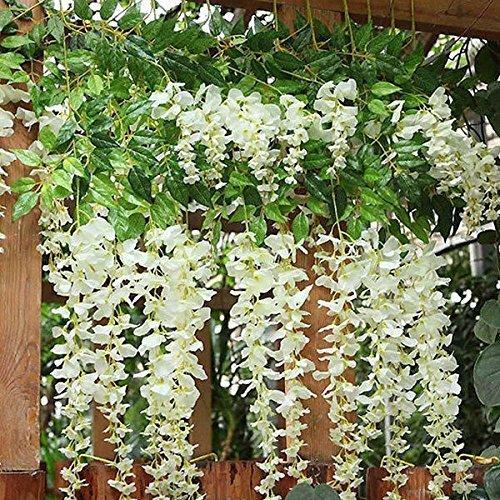 BJH 12 Pack 3.6 Feet/Piece Artificial Fake Wisteria Vine Ratta Hanging Garland Silk Flowers String Home Party Wedding Décor ()