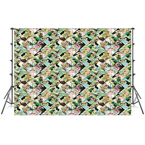 Luau Stylish Backdrop,Tropical Climate Wildlife Jungle Inspired Patchwork Style Pattern with Birds Parrot for Photography Festival Decoration,59''W x 39''H -