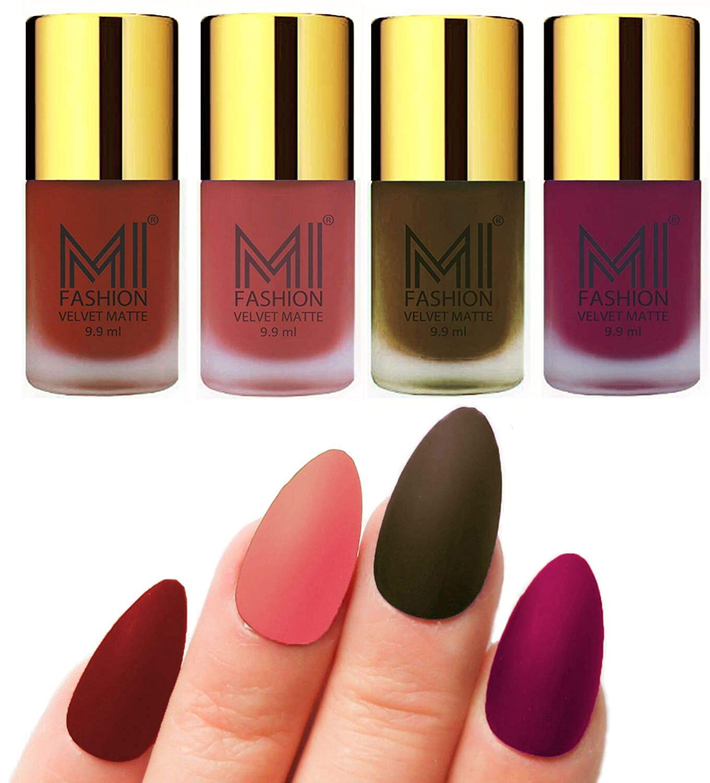 Mi Fashion Velvet Dull Matte Nail Polish, Cherry Red, Light Peach, Olive  Brown, Magenta, 39.6ml (4 Pieces)