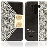 Lookatool for LG3 1PC Fashion Black Fresh Cute Flip Wallet Leather Case Cover