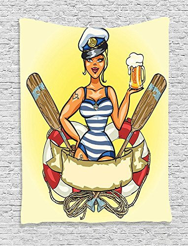 [Girly Collection Pin-Up Sexy Sailor Girl in Lifebuoy with Captain Hat and Costume Glass of Beer Feminine Design Multi Supersoft Throw Fleece Blanket 59.05x59.05] (Walmart Ninja Turtle Costume)