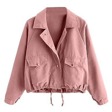 new styles f8c79 4ad3b FRAUIT Mantel Damen Herbst Winter Frauen Strickjacke Mode Kurze rosa Knopf  Mantel Pocket Jacke Sport Freizeit Übergroß Reißverschluss Verschluss Jacke  ...