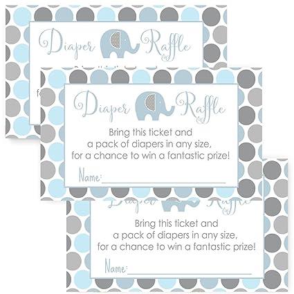 Amazon Com Elephant Baby Shower Diaper Raffle Invitation Insert