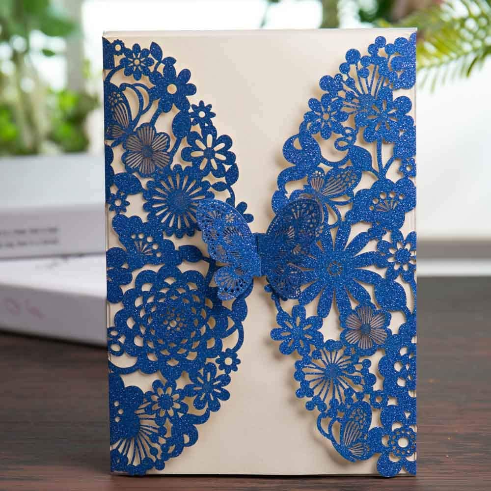 Amazon.com: Wishmade Royal Blue Glitter Laser Cut Wedding Invitations Cards  with Butterfly Lace Flower Design for Birthday Party Favor Supplies (Set of  20pcs): Health & Personal Care