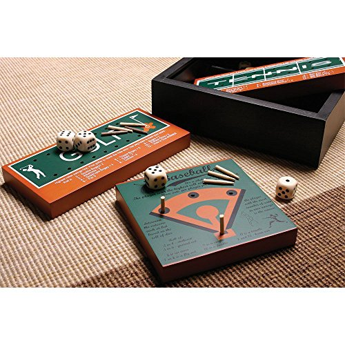 Profile Gifts 6 Classic American Sports Wood Board Peg Game - Football, Basketball, Baseball, Golf, Bowling, Tennis - Mini Travel Set