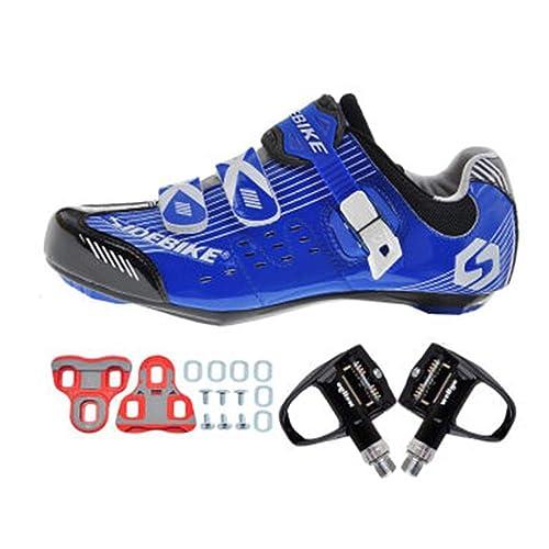 SIDEBIKE Zapatillas de Ciclismo con Pedales y Calas, Zapatos de Bicicleta de Carretera para Adultos
