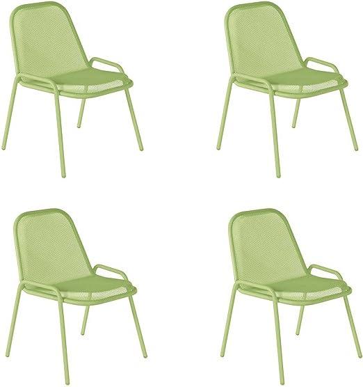 EMU Oferta 4 Sillas de Acero Golf Verde jardín Exterior Interior Restaurante decoración Bar: Amazon.es: Hogar