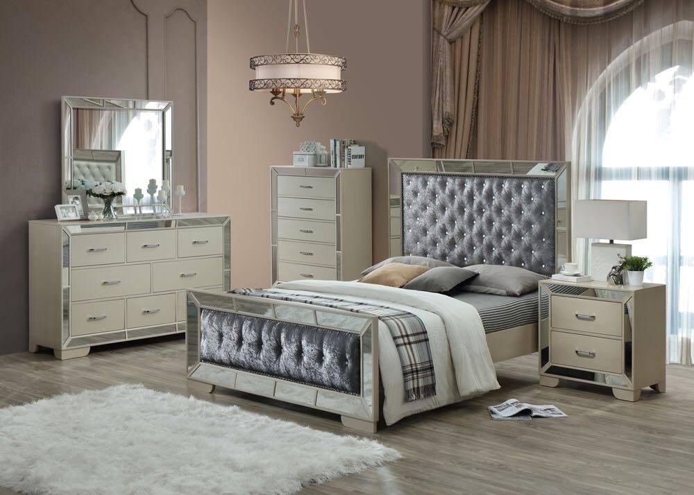 Worldwide Furniture Source Gem 6 Piece Bedroom Set Wood Pearl