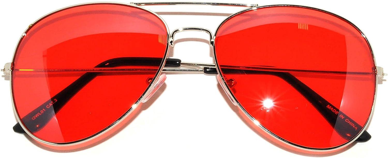 Vintage Retro Aviator Sunglasses Red Lens Gold and Black Frame Women Fashion