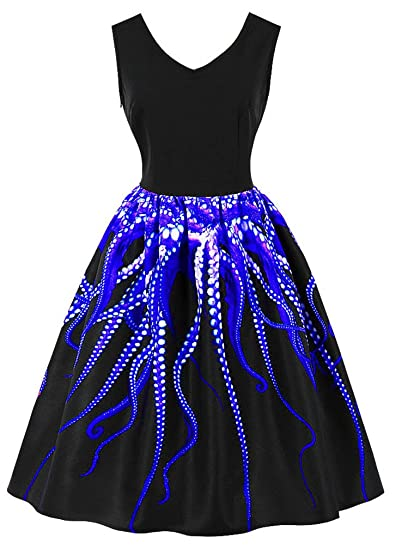 264e33178b1 EUDOLAH Femme Robe de Soirée 1 Pièce Année 50 Vintage Col V Robes Fantasie  sans Manches