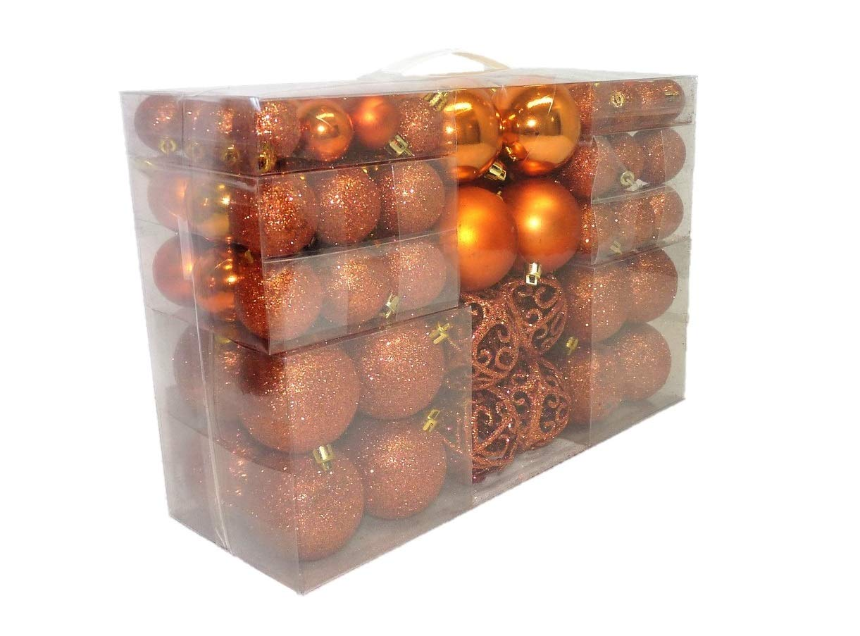Geschenkestadl 100-Piece Christmas Bauble Christmas Tree Decoration Diameter 6 cm Orange Copper unbekannt