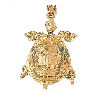 14k Yellow Gold Turtles Pendant