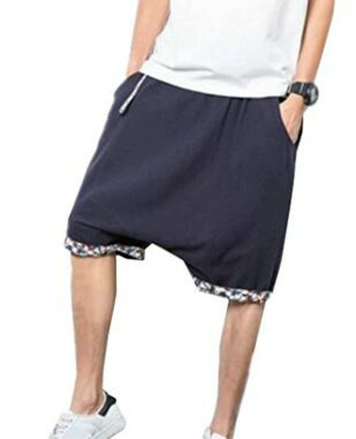 Colygamala Men's Fashion Summer Linen Capris Drop Crotch Harem Shorts Pants