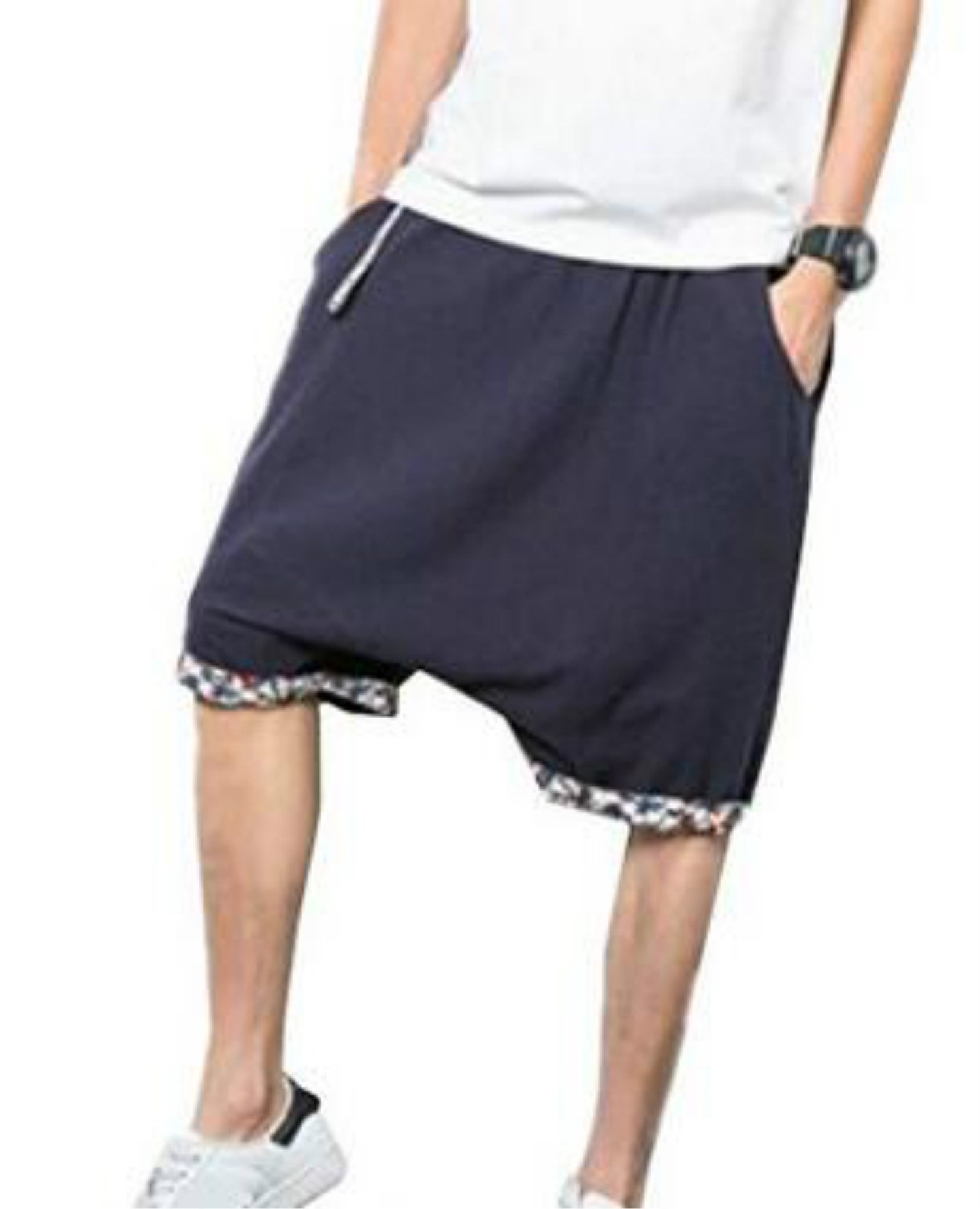 Colygamala Men's Fashion Summer Linen Capris Drop Crotch Harem Shorts Pants