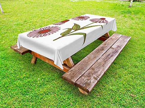 Ambesonne Apothecary Outdoor Tablecloth, Coneflower Homeopathic Extract Ayurveda Herbal Treatment Essence Vintage Artwork, Decorative Washable Picnic Table Cloth, 58 X 120 Inches, Multicolor