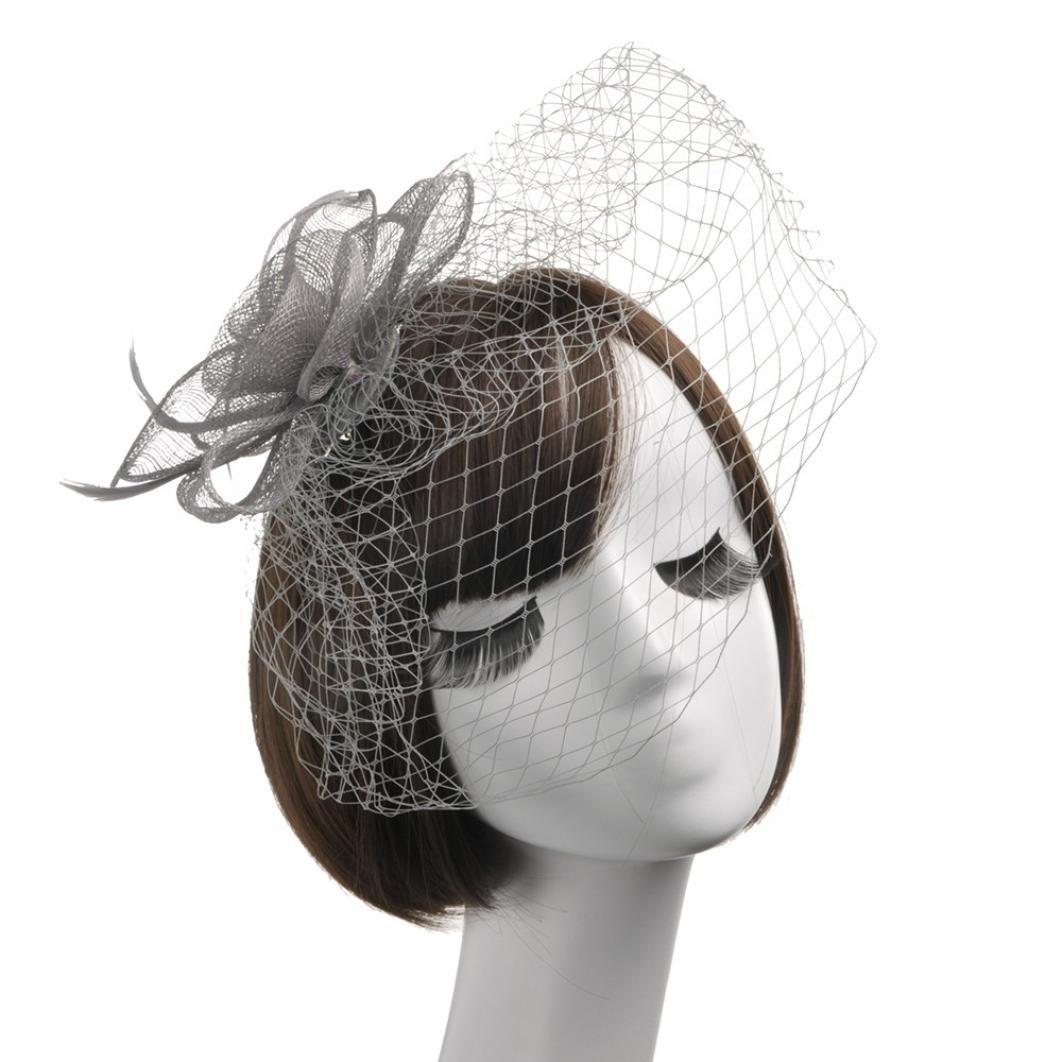Wensltd Women Elegant Feather Fascinators Top Hat Flower Cocktail Tea Party Headwear (Silver)