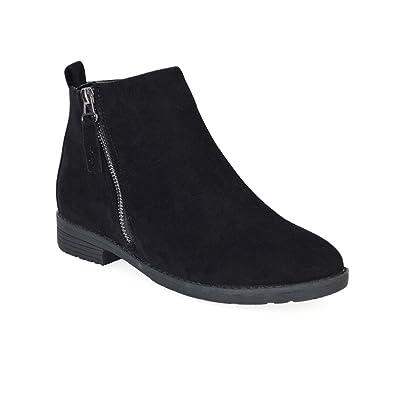 3642602aa00 ESSEX GLAM Womens Chelsea Block Heel Riding Biker Metal Zip Ladies Flat  Ankle Boots Size