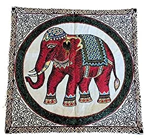 Traditional Thai Oriental Elephant Cushion Cover green red hippy boho 40x39cm