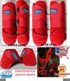 Horse Professional Equine Sports Medicine Splint Boots Bell Boot Tack Red 41RDA
