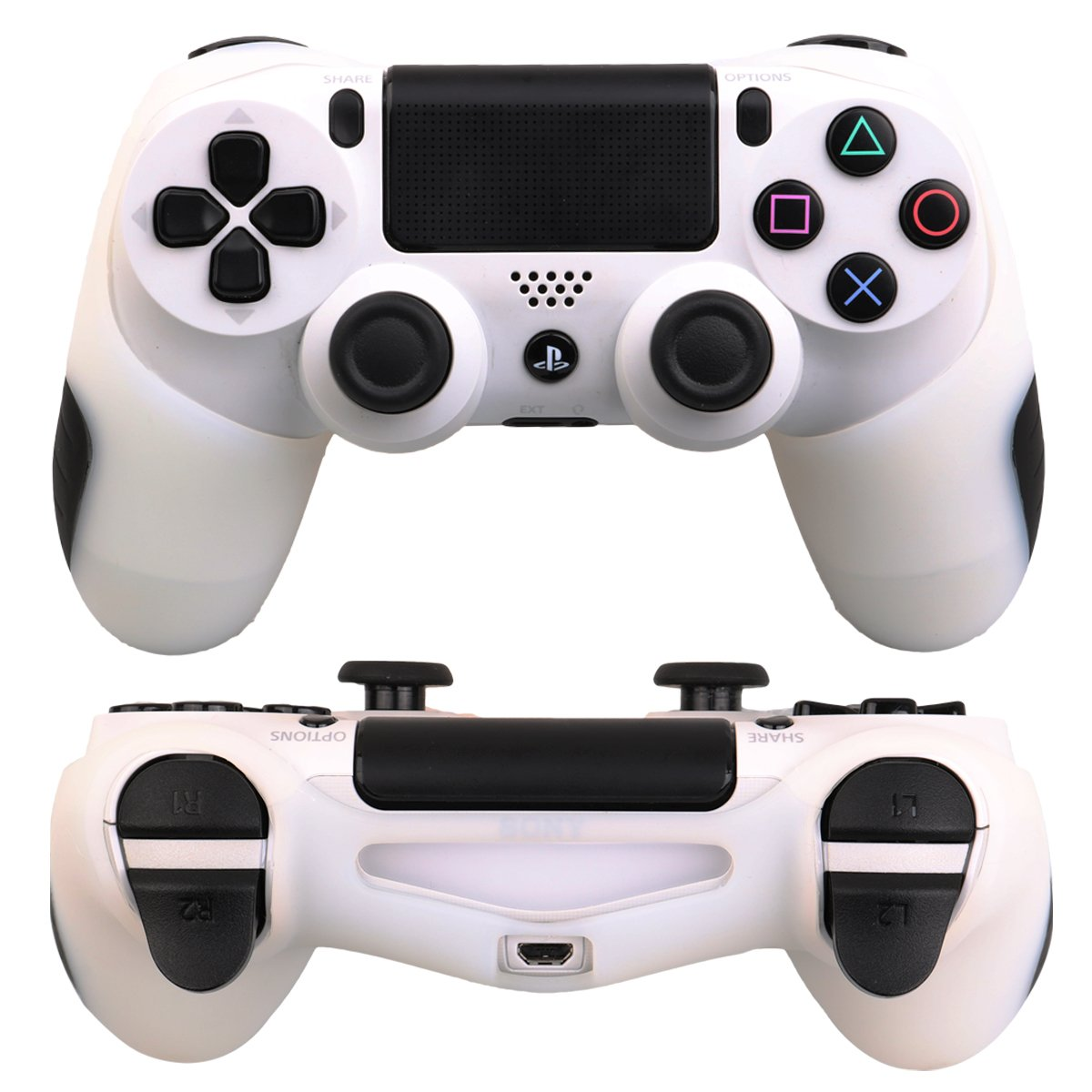 Skin X 2 + FPS Pro Thumb Grip X 8 Red,Blule Skin Compatible for PS4 Controller Pandaren Soft Silicone Thicker Half Skin Cover Grip for PS4 //Slim//PRO Controller