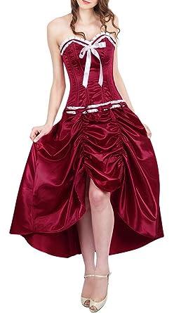 super popular f2001 b0628 Corset elegante abito in raso di vino Bordeaux, colore ...