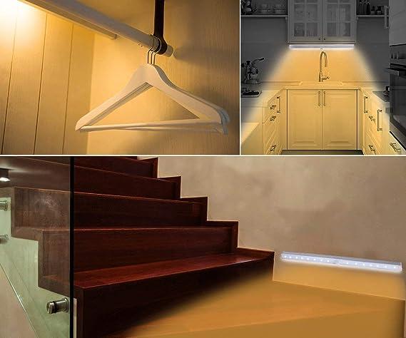 Unigear Luz Armario USB Recargable Lámpara Automático PIR Sensor De Movimiento Humano 18 LED 3 Modo Barra Iluminación Noctura Escalera Esquina Oscuro Cajón: ...