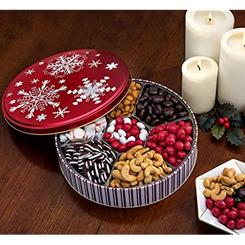 chocolate and nuts gourmet gift basket christmas holiday and all occasions red snowflake keepsake tin design dairy free deluxe snack sampler