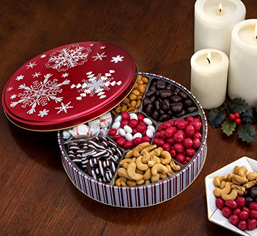Chocolate and Nuts Gourmet Gift Basket | Christmas Holiday and All Occasions| Red Snowflake Keepsake Tin Design | Vegan, Dairy Free, Deluxe Snack Sampler  (Snack Gift)