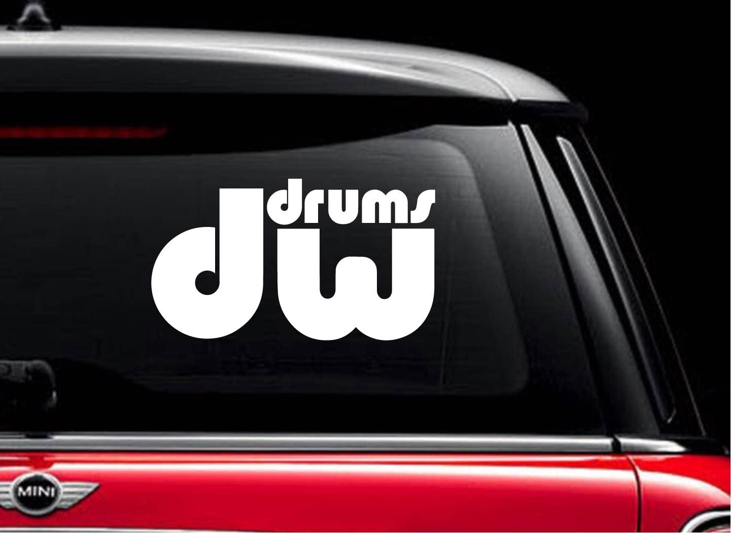 """DW Drums (White 8"""") Vinyl Decal Sticker for Car Automobile Window Wall Laptop Notebook Etc.... Any Smooth Surface Such As Windows Bumpers"""