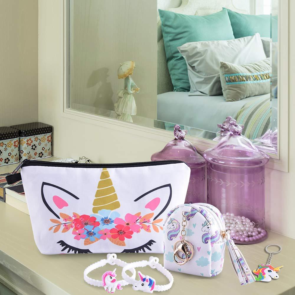 SIQUK 15 Pieces Unicorn Drawstring Bag Set Unicorn Drawstring Backpack//Makeup Bag//Coin Purse//Unicorn Bracelets Wristbands//Unicorn Keychains Unicorn Set for Party
