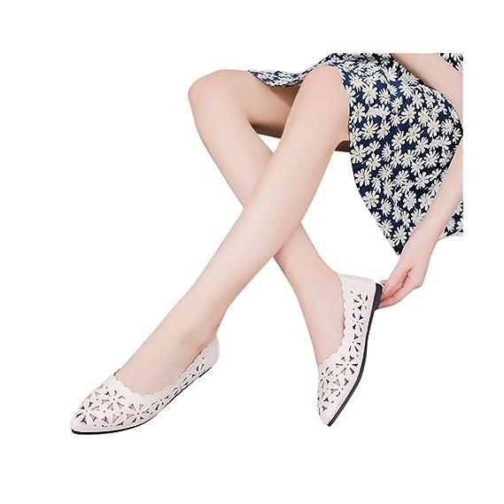 styles de mode rechercher le dernier emballage fort Chaussures Femme Longra Femme Talon Plat Peu Profond Évider ...