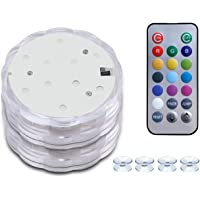 HouLight Submersible LED lights with Suction Cups, Remote Control, 2 Pack Waterproof Bathtub Lights with Color Changing…