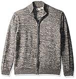 Haggar Men's Reverse Jersey Mechanical Marl Full Zip Sweater, Moon Marl, L