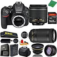 Great Value Bundle for D5500 DSLR – 18-55mm AF-P + 70-300mm AF-P + 16GB Memory + Wide Angle + Telephoto Lens + Case