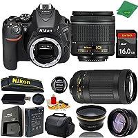 Great Value Bundle for D5500 DSLR – 18-55mm AF-P + 70-300mm AF-P + 16GB Memory + Wide Angle + Telephoto Lens + Case