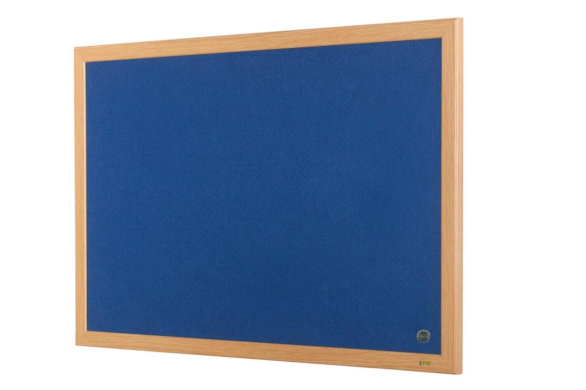 Bi-Office Pannello Ecologico In Feltro Blu Earth, Bacheca Per Avvisi In Feltro Con Look In Legno Ecologico e Cornice In Legno Quercia, 90 x 60 cm FB0743239