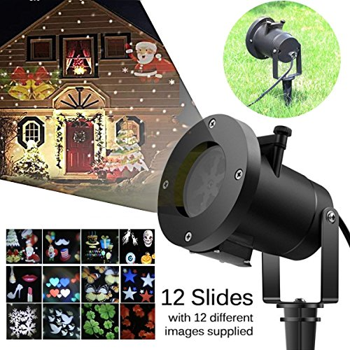 ESUN Christmas Laser Projector Lights, Halloween Outdoor Laser Light, LED Rotating Projector with 12 Replaceable Colorful Slides, Waterproof Snowflakes Spotlight for Festival Party Garden -