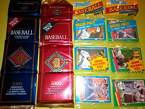 1991 and 1992 Donruss Un-opened baseball card rack packs. Look for Randomly Inserted Autographed Cards of Cal Ripken Jr and Ryne Sandberg ()