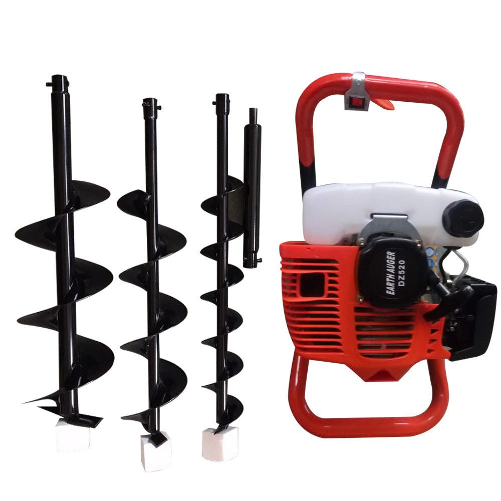 OUkANING 52cc Petrol Earth Auger Hole Digger 3 x Drill Fence with Extension Pole