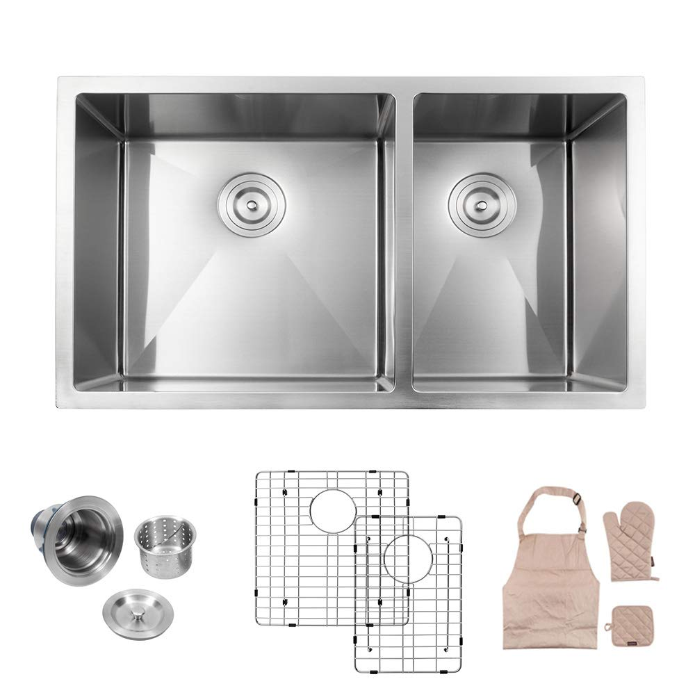LORDEAR Commercial 15 Inch 16 Gauge 10 Inch Deep Small Drop In Undermout Stainless Steel Single Bowl Kitchen Sink Brushed Nickel Single Bar Sink
