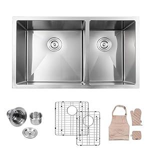 "LORDEAR LU3219R2 Modern 32"" x19"" 10 Inch Deep 16 Gauge Stainless Steel Undermount 60/40 Double Bowl Kitchen Sink"
