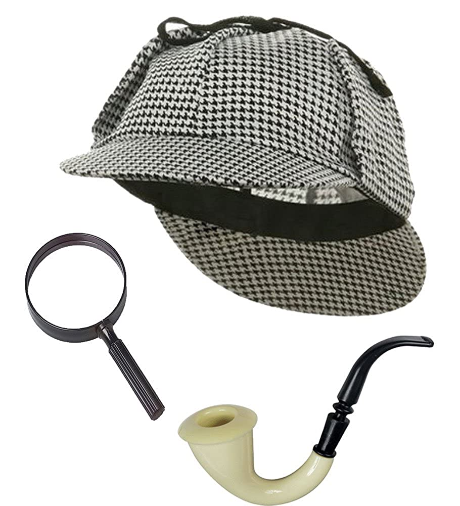 Sherlock Holmes Detective Bundle- Detective Hat Costume Pipe & Magnifying Glass f-am944-am743-ab492