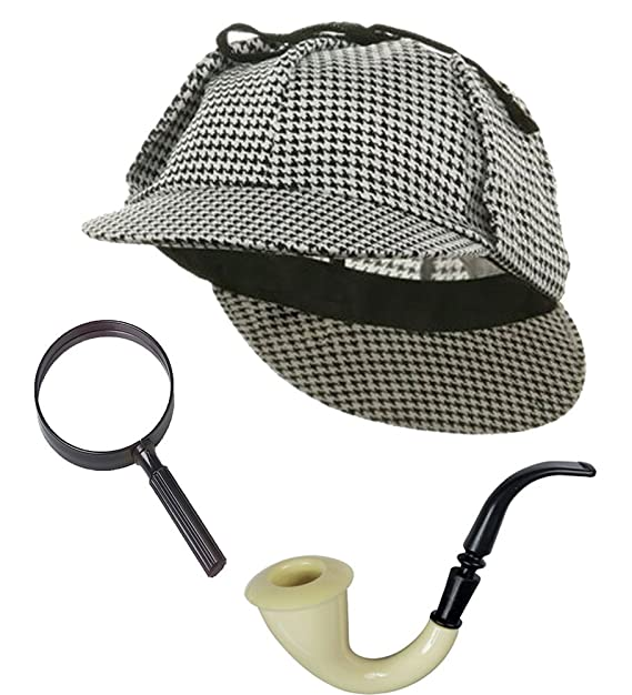 7d2e103bd1b33 Image Unavailable. Image not available for. Color  Sherlock Holmes Detective  Bundle- Detective Hat Costume Pipe ...