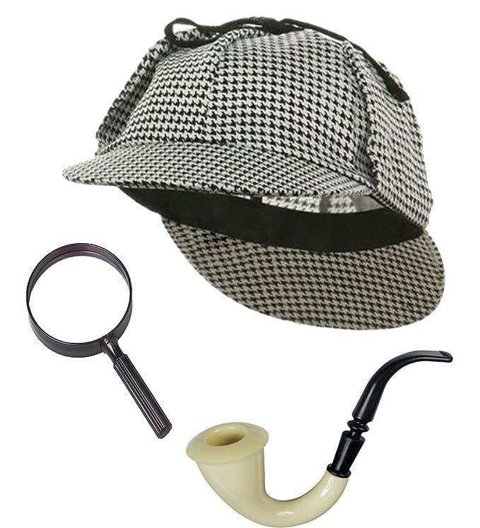 Victorian Men's Costumes: Mad Hatter, Rhet Butler, Willy Wonka Sherlock Holmes Detective Bundle- Detective Hat Costume Pipe & Magnifying Glass $16.99 AT vintagedancer.com