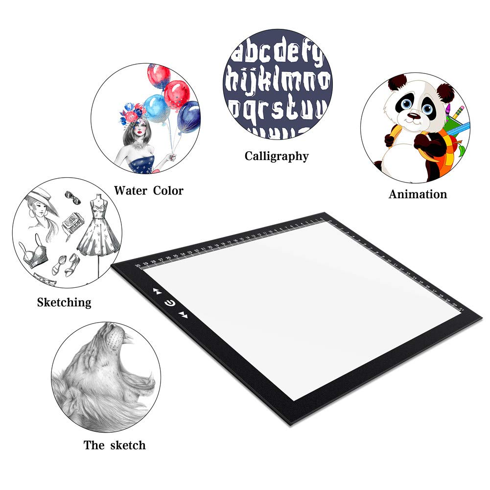 A4 Led Light Box Light Pad New Improved Structure Touch Dimmer 8W Super Bright Max 3800 Lux with Free Carry/Storage Bag 2 Years Warranty (A4 Light Pad) by HSK (Image #7)