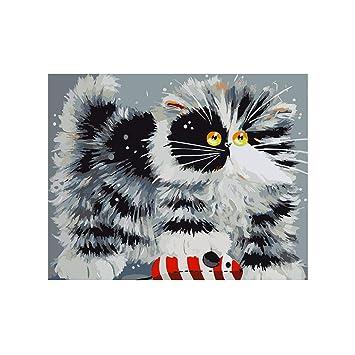 Xurgm Cuadro de Pintura Digital al óleo Marco con diseño de Gato y pez: Amazon.es: Juguetes y juegos